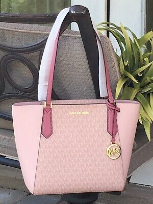 MICHAEL KORS KIMBERLY SMALL BOND ZIP TOTE SHOULDER BAG TULIP BALLET MK SIGNATURE