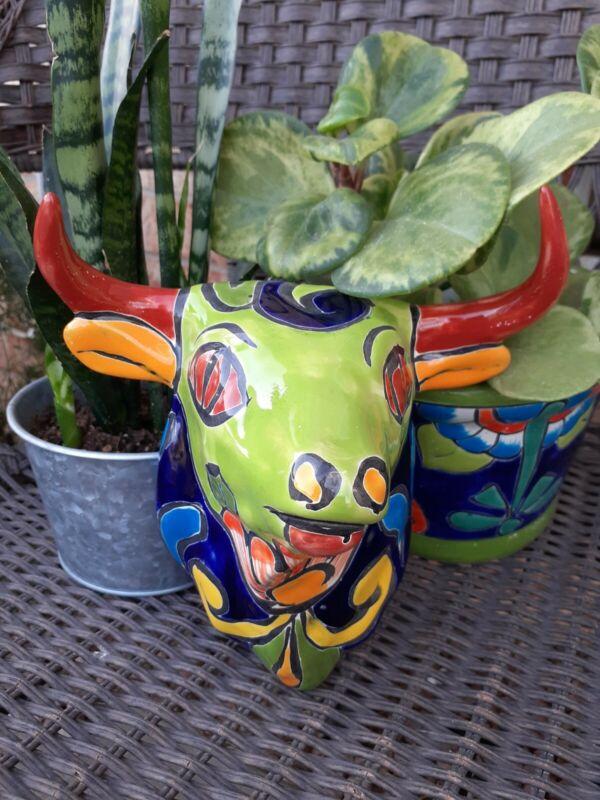 """Mexican Talavera Wall Art Pottery Bull Head 7"""" Handmade Handpainted"""
