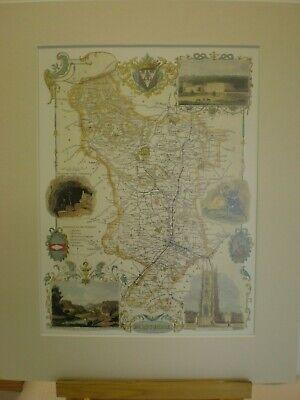 Derbyshire Antique County Map Thomas Moule circa 1830