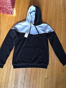 Brand new black & grey pull over hoodie