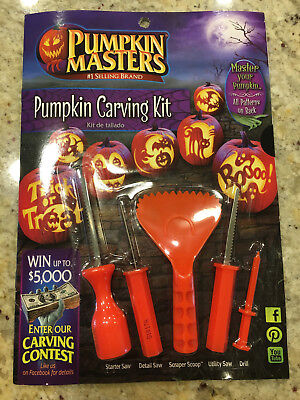Pumpkin Masters Halloween Carving Kit ~ 10 Patterns & 5 Tools ~ Bat Witch Ghost