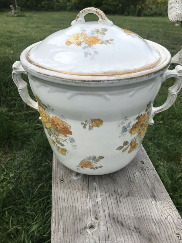 Antique Maddock's Lamberton Works Royal Porcelain Chamber Pot Yellow Rose