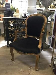 Black French Louis Style Vintage Chair Armchair Bedroom Chair Richmond Hawkesbury Area Preview