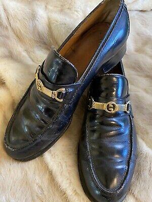 Authentic Gucci Mens Loafers Horsebit Black Vintage 1970's