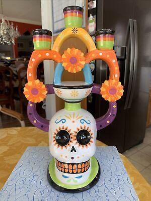 Skull Candle Stick Holder DAY OF THE DEAD Dia De Muertos Multicolor Rare New