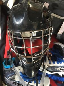 Goalie helmet and skates