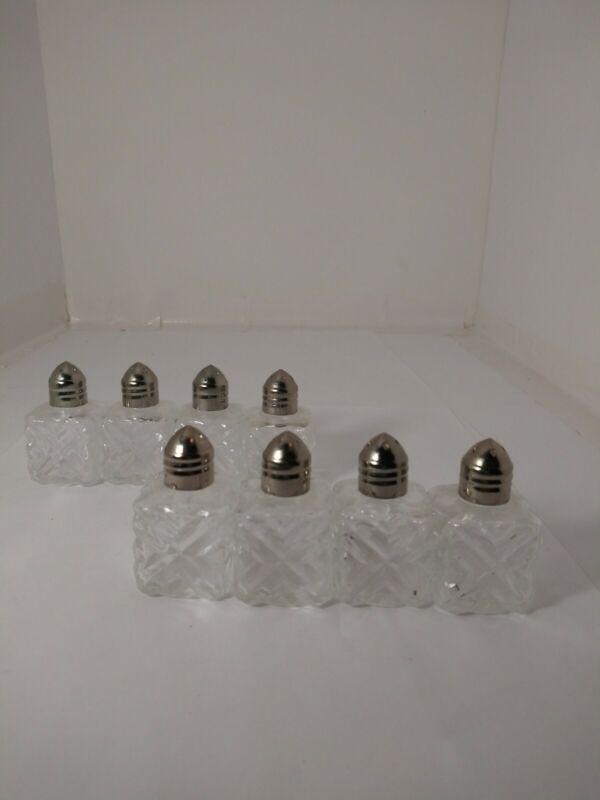 "Set of 8 Vintage Mini Crystal Cut Silver Plated Salt & Pepper Shakers 1.75"""