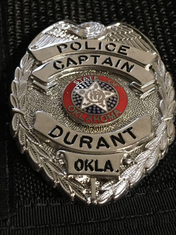 obsolete Vintage Police Captain 3 1/2 Inch Metal Badge Durant Okla Oklahoma