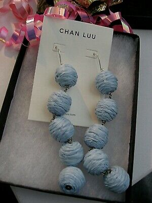 Chan Luu Earrings X Long Dangle Pom Poms Skyway Pale Blue Raffia on Silver NWT  Chan Luu Silver Earrings