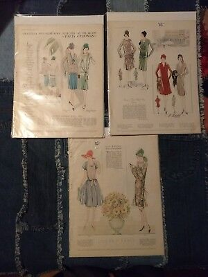 Lot 3 magazine 1927 McCall's Color Ads L'echo de Paris Fashion Pages Original