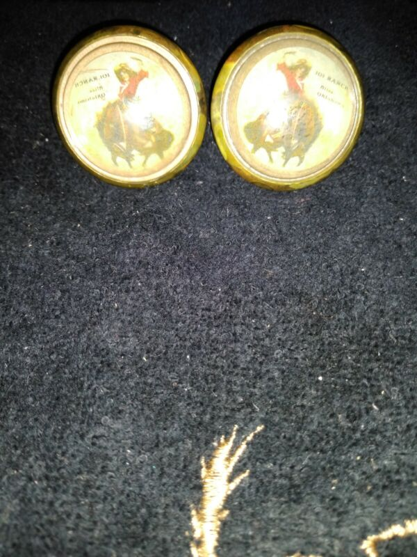 Bridle Rossettes 101 Ranch Bucking Bronc 1st Woman Bronc Rider 2 in brass glass