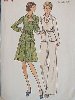 Pleated Top & Belted Pants - VTG 70s BUTTERICK 3620 MS Top Inverted Pleat Skirt Pants & Belt PATTERN 14/36B