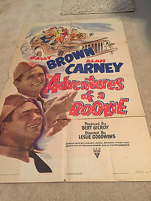 ORIGINAL ONE SHEET 27 X41 VINTAGE POSTER  FOLDED THE ADVENTURES OF A ROOKIE