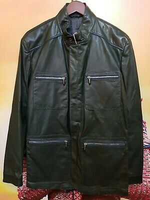 LATINI FINEST LEATHER CHAQUETA PIEL VERDE OSCURO TALLA 50 MADE IN ITALY