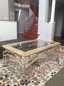 Wrote iron table beige and glass