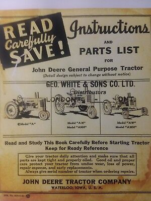 John Deere 1940 A An Anh Aw Awh 477000 Tractor Owner Service Parts Manual