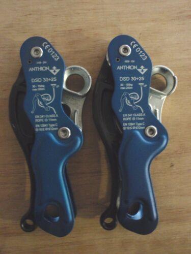 2 x ANTHRON/ DOUBLE STOP DESCENDER/ DSD 30+25/ Rope Access/ Rescue/ Blue
