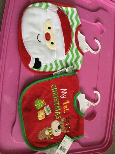 BRAND NEW Set Of 2 Baby Bibs Christmas, Holiday, Baby's 1s