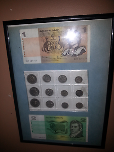 Australian coins/notes in frame lot bundle Macleod Banyule Area Preview