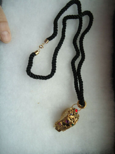 Vintage/nos goldtone black cord rhinestone metal Whistle necklace