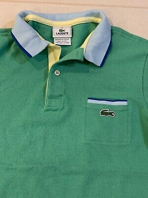Lacoste Kids Boys Green Blue Polo Shirt Size 12