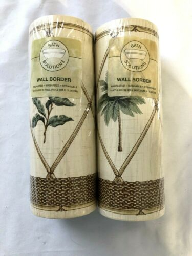 2 rolls  Bath Solutions Royal Palm Wall Border Wall Paper-NEW
