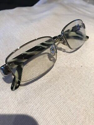 Versace Glass Frames MOD 1185-B 1000 Silver/Zebra Half Rim Italy 53[]17 135
