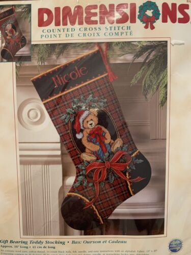 """16"""" Dimensions Cross Stitch Kit """"Gift Bearing Teddy Stoc"""