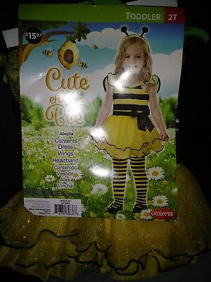 NEW Goodmark Cute As Can Bee Toddler Girls Bumble Bee Costume with Wings Size 2T