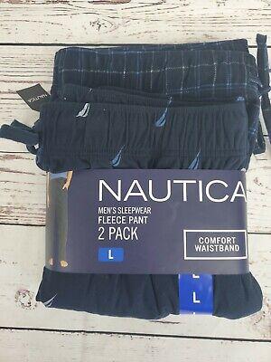 NWT 2 Pack Men's Nautica Fleece Pajama Lounge Pants Sleepwear LARGE 2019