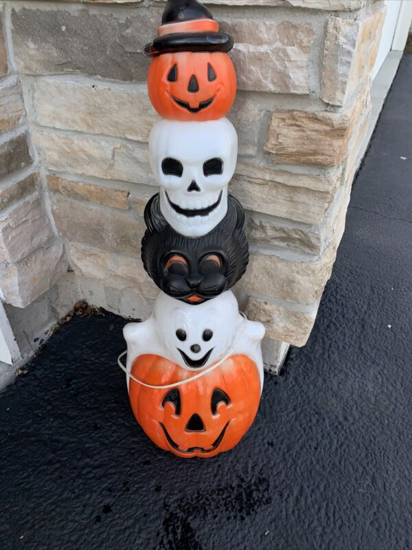 """VTG Empire Blow Mold 32"""" Halloween Lighted Totem Pole '95"""