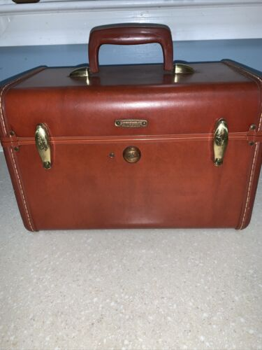 Beautiful Vintage Samsonite Shwayder Bros Luggage Train Brown Makeup Case No Key - $22.10