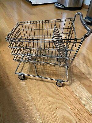 Vintage Mini Metal Grocery Mall Shopping Cart Toy Basket