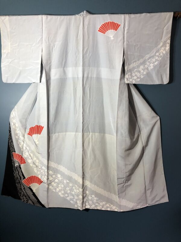 Vintage Kimono Japanese Yukata Summer Grey With Striking Red Fans