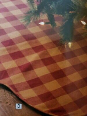 Red Primitive Holiday Decor Cody 48 in. Burgundy Check Tree Skirt Cotton Check