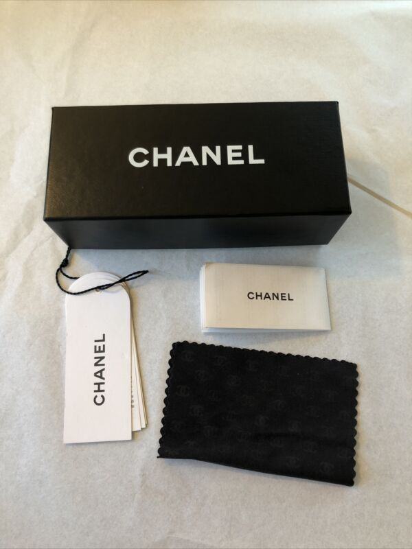 CHANEL LUXOTTICA Sunglass Presentation Box W/ Booklets Cleaning Cloth Good Cond