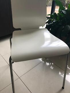 IKEA white dining chairs x6