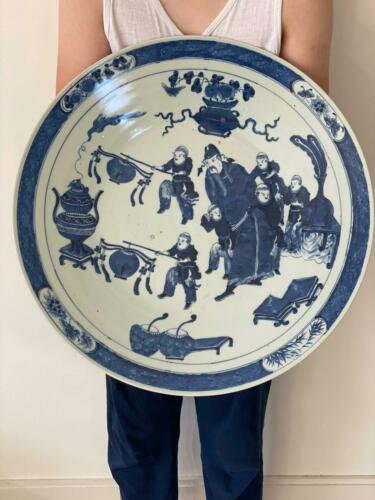 Antique Chinese Blue And White Big Plate