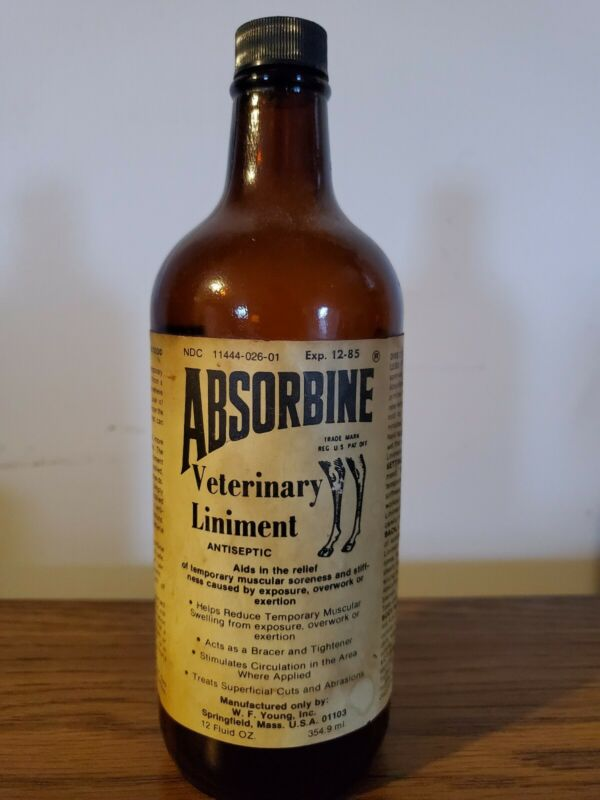 VINTAGE 12oz ABSORBINE VETERINARY LINIMENT BOTTLE W.F. YOUNG INC. Springfield MA