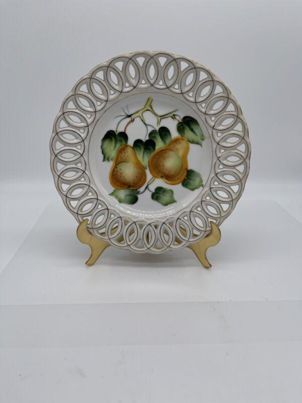 Hand Painted Decorative Plate Fruit Design/Japan