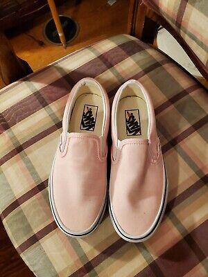 VANS Pink Canvas Solid SlipOn Sneakers Men 5 Womens 6.5