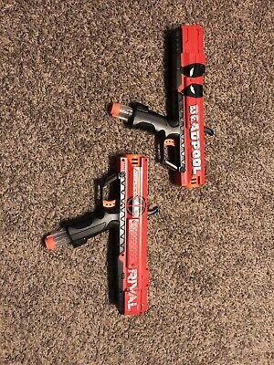 Nerf Marvel Gun Rival Apollo XV-70 Deadpool Used Some Bullets 2 Nerf Guns! Used!