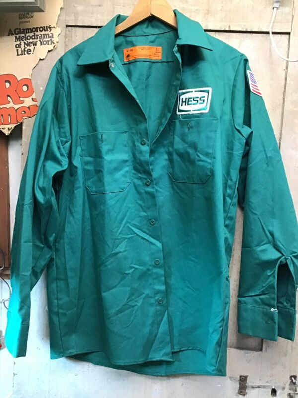 NOS Vintage HESS Truck Uniform Collared Shirt Size M - RG Green (B)