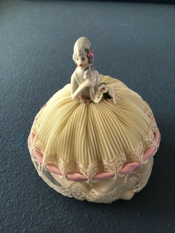 Antique Pin Cushion Half Doll Dressed In Lovely Antique Lace
