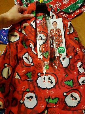 Suitmeister Ugly Christmas Suit Boys Kids Size Small Cool Santa 3 piece