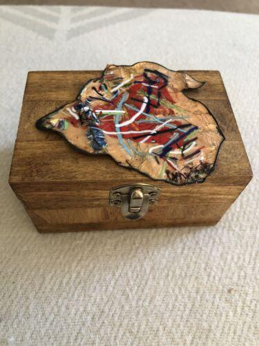 Vintage Signed MCM Art Wooden Trinket Box Hand Made W Mod Enamel On Copper Lid - $12.00