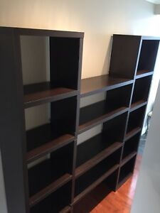 Wood veneer wall shelf unit