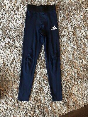 Ladies Navy Blue Adidas Leggings Size 8 (S)