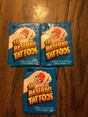 1986 Topps Baseball Tattoos Wax Pack 3 Pack Lot (Baseball Tattoos)