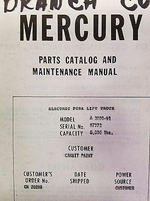 Pettibone Mercury A 3001-91 Forklift Parts Catalog And Maintenance Manual